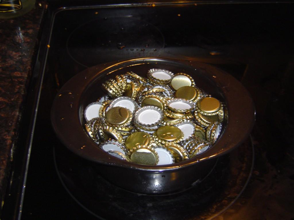 sanitized bottle caps