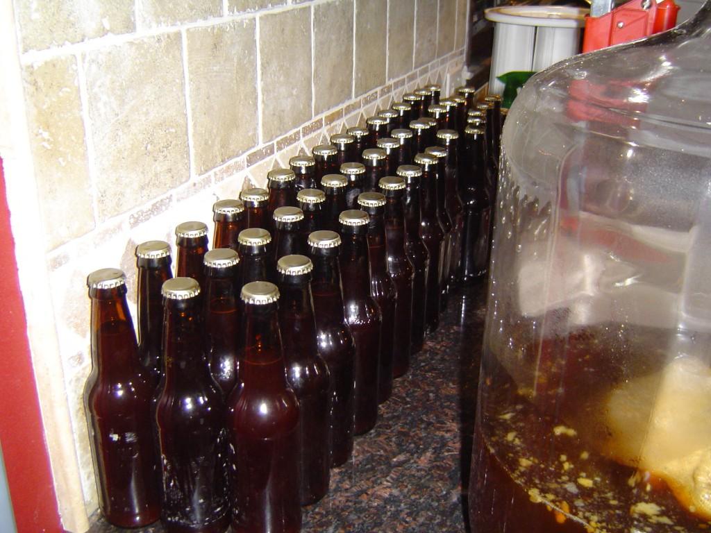 filled beer bottles